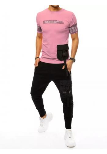 Pánské komplety trička a kalhot s potiskem v růžovo-černé barvě