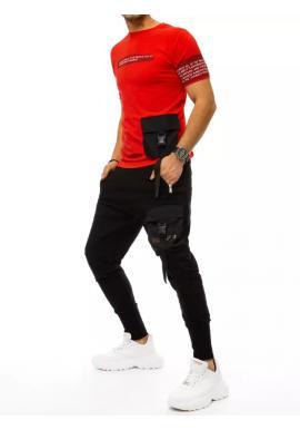 Červeno-černý komplet trička a kalhot s potiskem pro pány