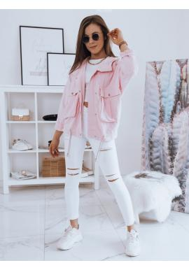 Růžová oversize bunda s kapucí pro dámy
