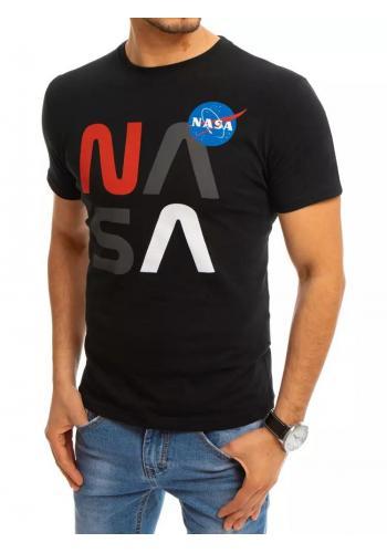 Černé stylové tričko s potiskem NASA pro pány
