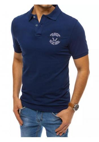 Pánské módní polokošile s výšivkou a potiskem v modré barvě
