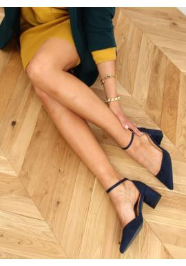 Tmavě modré semišové lodičky na stabilním podpatku pro dámy