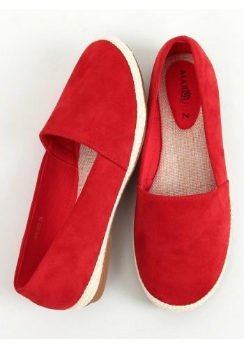 Semišové dámské espadrilky červené barvy