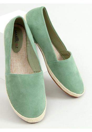 Semišové dámské espadrilky zelené barvy