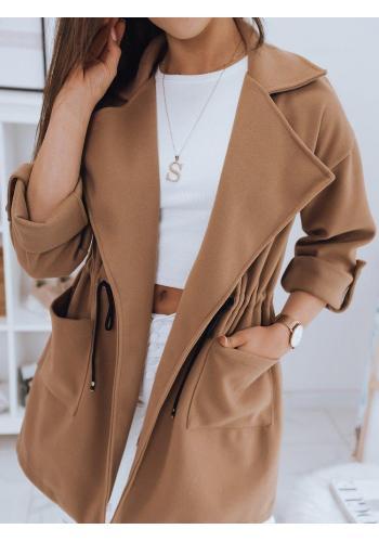 Hnědý módní kabát s velkým límcem pro dámy