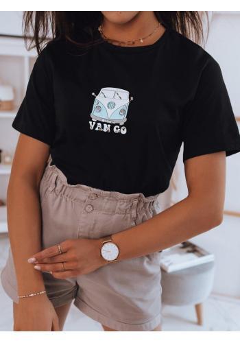Klasické dámské tričko černé barvy s potiskem