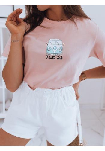 Růžové klasické tričko s potiskem pro dámy