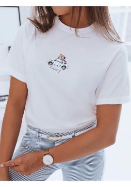 Bavlněné dámské tričko bílé barvy s potiskem