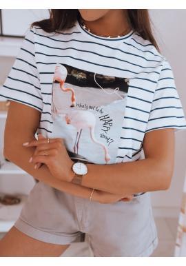 Proužkované dámské tričko bílé barvy s potiskem