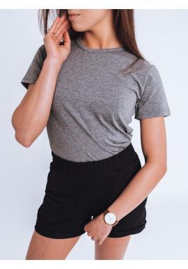 Dámské klasické tričko s krátkým rukávem v tmavě šedé barvě