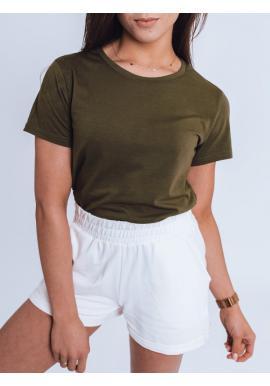 Tmavě zelené klasické tričko s krátkým rukávem pro dámy
