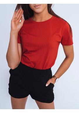 Červené klasické tričko s krátkým rukávem pro dámy