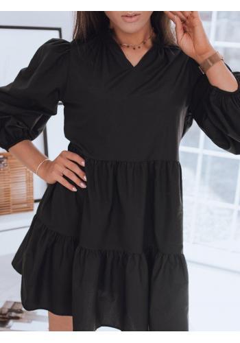Oversize dámské šaty černé barvy s volánem