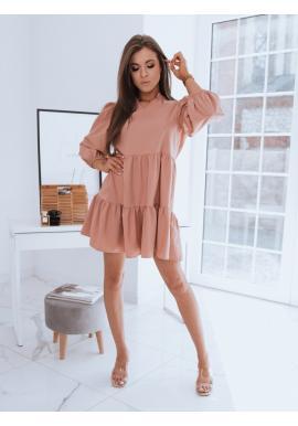 Dámské oversize šaty s volánem v broskvové barvě