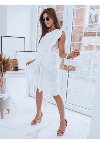 Bílé vzdušné šaty s vázáním v pase pro dámy