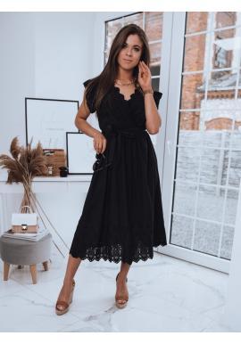 Maxi dámské šaty černé barvy s vázáním v pase