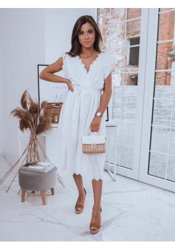 Dámské maxi šaty s vázáním v pase v bílé barvě