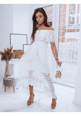 Dámské boho šaty s odhalenými rameny v bílé barvě
