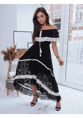 Černé boho šaty s odhalenými rameny pro dámy