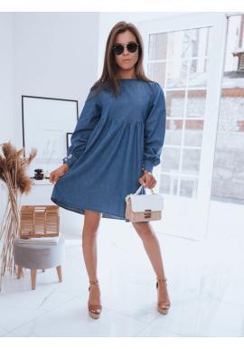 Oversize dámské šaty světle modré barvy s vázáním na zádech