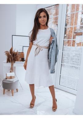 Dámské volné šaty s páskem v bílé barvě