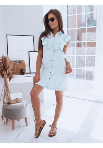 Letní dámské šaty světle modré barvy s límcem a volánem