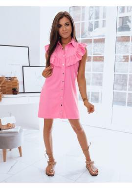Dámské letní šaty s límcem a volánem v růžové barvě