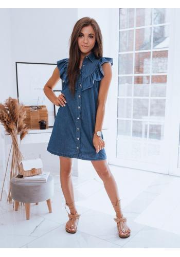 Modré letní šaty s límcem a volánem pro dámy
