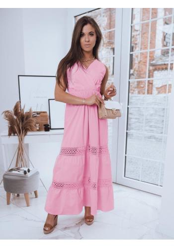 Dlouhé dámské šaty růžové barvy bez rukávů