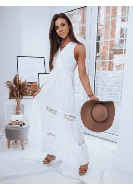 Dámské dlouhé šaty bez rukávů v bílé barvě