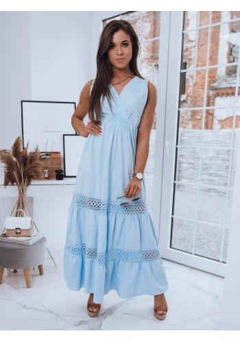 Světle modré dlouhé šaty bez rukávů pro dámy