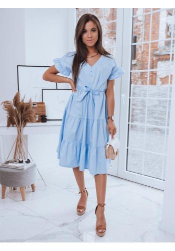Volné dámské šaty světle modré barvy s vázáním v pase