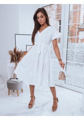 Dámské volné šaty s vázáním v pase v bílé barvě