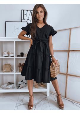 Černé volné šaty s vázáním v pase pro dámy