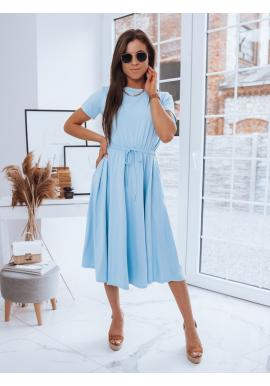 Letní dámské šaty světle modré barvy s gumou v pase