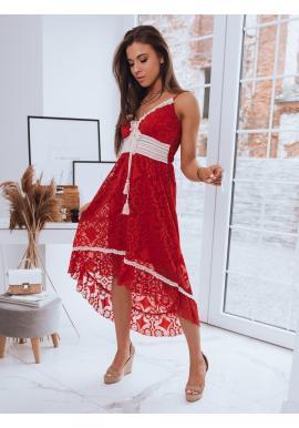 Boho dámské šaty červené barvy na ramínka