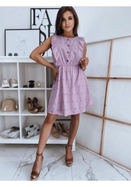Dámské letní šaty s volány ve fialové barvě