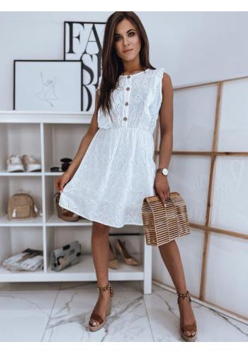 Bílé letní šaty s volány pro dámy