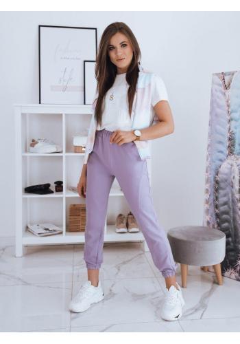 Pohodlné dámské tepláky fialové barvy s vysokým pasem