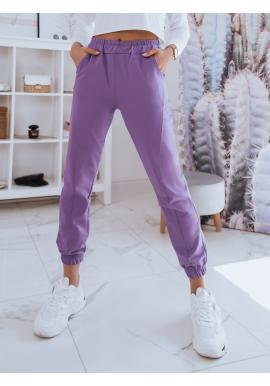 Dámské pohodlné tepláky s vysokým pasem ve fialové barvě