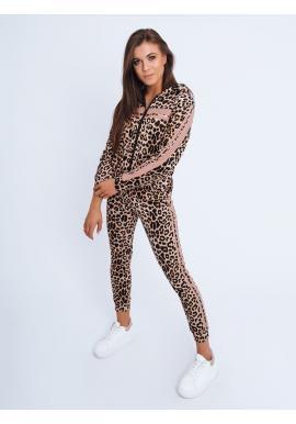 Dámský leopardí komplet s růžovými pruhy