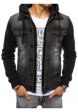 Pánská riflová bunda s teplákovou kapucí a rukávy v černé barvě