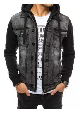 Riflová pánská bunda tmavě šedé barvy s teplákovou kapucí a rukávy
