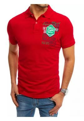 Pánská sportovní polokošile s potiskem v červené barvě
