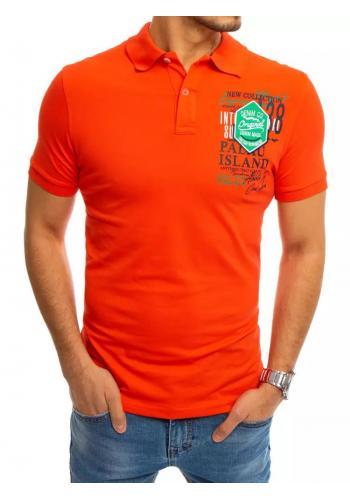 Oranžová sportovní polokošile s potiskem pro pány