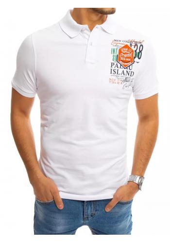 Pánská sportovní polokošile s potiskem v bílé barvě