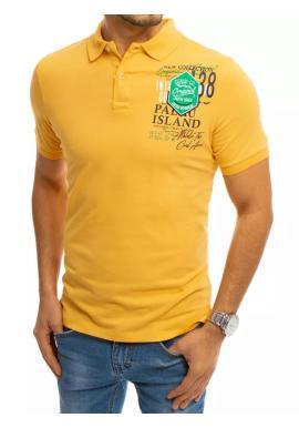 Sportovní pánská polokošile žluté barvy s potiskem