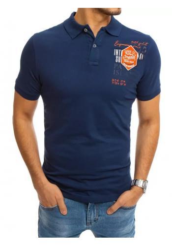 Pánská sportovní polokošile s potiskem v modré barvě
