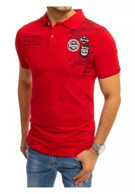 Červená módní polokošile s potiskem pro pány