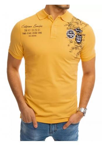Pánská módní polokošile s potiskem ve žluté barvě